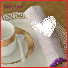 100PCS  Free Shipping Hot Item Paper For Table Decoration Wedding Favors White Love Heart Design Towel Holder Napkin Rings