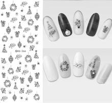 DS266 Design Water Transfer Nails Art Sticker Black Strings Drawing Pendent Nail Wraps Sticker Watermark Fingernails Decals