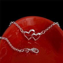 SHUANGR Top Quality Simple Style 'First Love' Silver-Color Anklets Jewelry Austrian Crystals Wholesale TF187