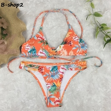 BEKOSHINE Print Swimwear 2017 Bandage Bikini Set New Swimsuit Orange Bikinis Sexy Low Waist Bathing Suits Push Up Biquini wear