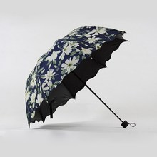 Three Folding Umbrella Rain Women Sunny Rainy Elegant Flower Umbrella Black Anti Glare Coating Design 110cm Diameter