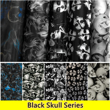 0.5m Wide Free Shipping Black SKULL  Hydrogarphic Film Water Transfer Printing Film Aqua Print Films For Car&Motorcycle