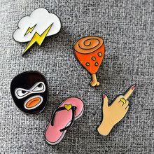 Cute Cartoon Brooches Lightning Robber Chicken Leg Style Lapel Pin Badge Corsage Brooch Pin Short Crystal Label Pins Accessory
