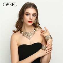 CWEEL Jewelry Sets Bridesmaid Luxury Turkish Jewelry For Women Flower African Jewellery Dubai Wedding Indian Jewelry Set(China)