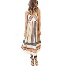 YJSFG HOUSE Casual Loose Summer Sleeveless Beach Dress Women 2017 Sexy Geometric Patchwork Party Dresses Ladies Shirt Vestidos