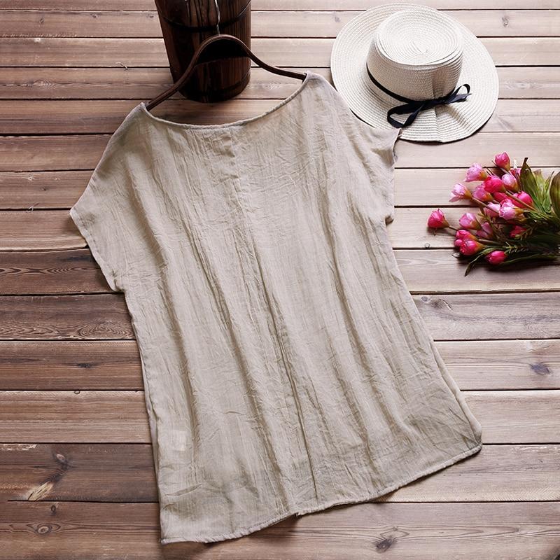 ZANZEA-Vintage-Cotton-Linen-Baggy-T-Shirt-2018-Summer-Fashion-Women-Blusa-Casual-Crew-Neck-Short5