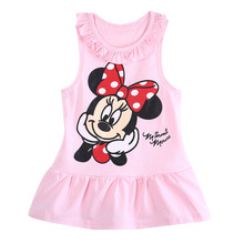 Baby Girl Summer Dress Girls Princess Party Minnie Mouse Printed Dress Cotton Girl Wear 2017 New For 0-6Y Girl Pink and Red