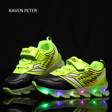 Glowing sneakers kids with lights up led luminous shoes Unisex children kids sports shoes running boy sport shoes girls pink(China)