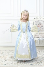 Snow Queen Elsa Dress Girls Princess Dresses Kids Cosplay Costume Blue Party Dress for 4-10 yrs