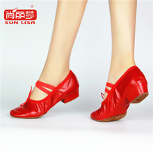 SUN LISA Dance Shoes Genuine Leather Ballet Shoes Pigskin Soft Insole Low Heel Latin Dance Shoes Women A