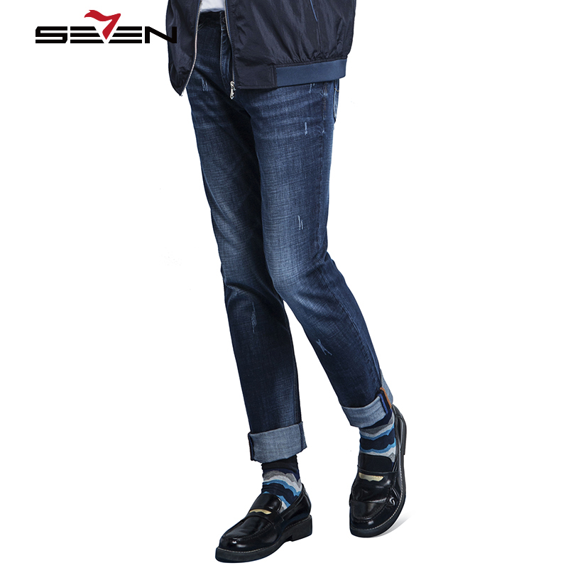Seven7 Brand 2017 New Men Fashion Casual Jeans Young All-Match Fashion Comfortable Jeans High Quality Pants Slim Jeans 112S80310Îäåæäà è àêñåññóàðû<br><br>