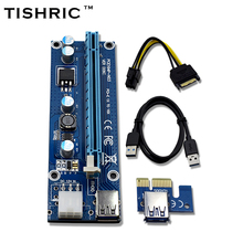 10pcs TISHRIC VER006C Blue 1x to 16x PCI Express Riser Card PCI-E Extender 60cm USB 3.0 Cable SATA to 6Pin Power for BTC Miner(China)