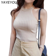 YAYEYOU Hot Halter  Top Women Knitted Blouses Cotton Off Shoulder Sexy Summer Elegant Tops shirt Cheap Woman Clothing