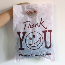 "Hot Sale 100pcs 25cmx35cm (9.84"" x 13.77"")Coffe Thank You Smile Color Plastic Gift Bags With Handles Cloth Shopping Gift Bags(China)"