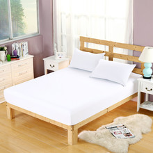 White Color Fitted Sheet Set Pillowcases Cotton comfortable Bedding Set Bed Bedspread Mattresses Non-slip Sets Protective Cover(China)