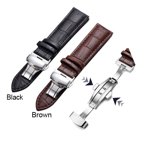 16-24mm Watch Strap Double Button Fold Butterfly Clasp Genuine Leather Watchband Black Brown Watchbands<br><br>Aliexpress