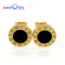 Trendy Gold Color 10mm Roman Numerals Stainless Steel Stud Earrings For Women Fashion Birthday Gift For Girls(JewelOra EA101792)(China)