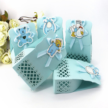 12pcs/lot Baby Shower candy box Event Party Supplies Decor Cute boy and girl Paper Baptism Kid Birthday Favors Gift Sweet  Bag