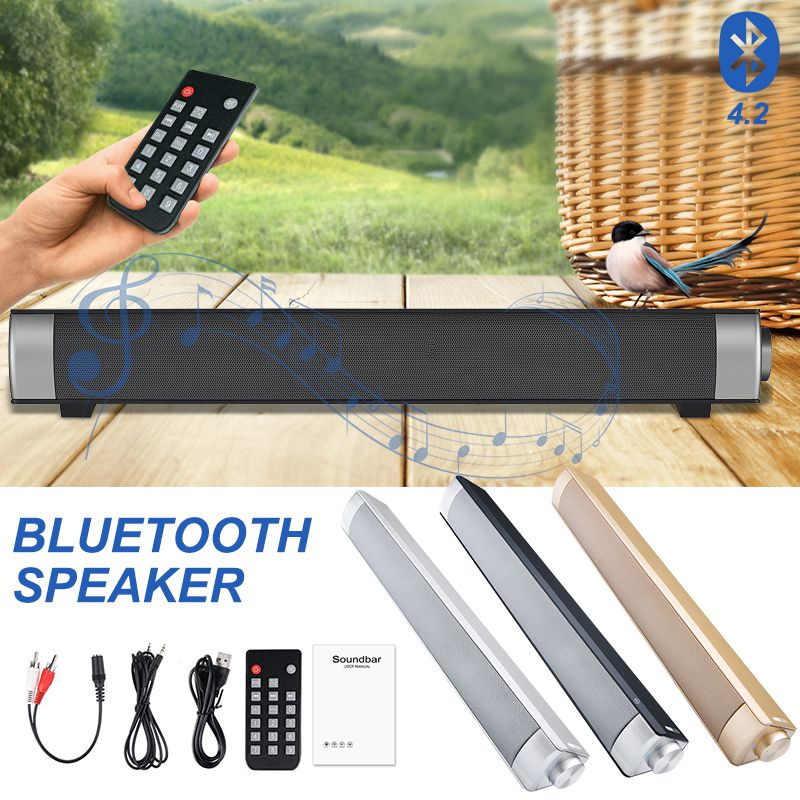 VTIN Wireless Bluetooth Speaker 4.2 SoundBar Remote Control TF Card TV Cellphone Tablet Surround Sound System TV Speaker Golden (15)