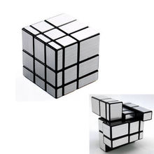 1Pcs Fashion Trendy 3x3x3 Mirror Blocks Silver Shiny Magic Cube Puzzle Brain Teaser IQ Kid Funny Education Toys For Kids(China)