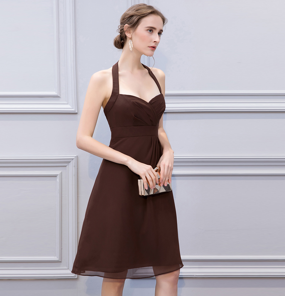 BeryLove Simple Brown Knee Length Short Bridesmaid Dresses Halter Backless Bridesmaid Gowns Chiffon Plus Wedding Party Dresses 3