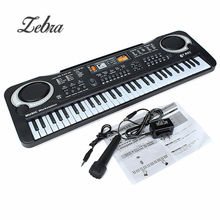 Black 61 Keys Music Electronic Keyboard Key Board Kids Gift Electric Piano Gift With Mini Microphone For Child Kid Musical Organ(China)