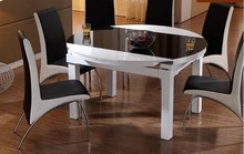 Folding table function scale eat desk and chair combination of toughened glass solid wood round dining tables(China)
