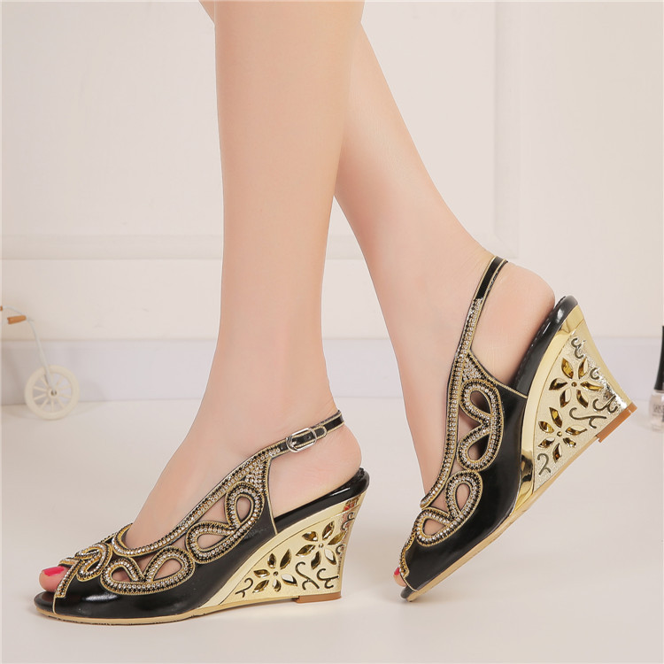 2017 Summer New Diamond Fashion Womens Black Peep Toe Wedges Bridal Sandals Wedding Shoes High Heels Cause Footwear-4
