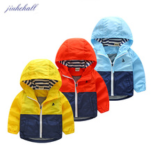 Boy Girls Autumn Winter Coat Kids Toddler Hooded Windbreaker Children Outerwear Kids Patchwork Jackets Coat Baby Clothing JH002(China)