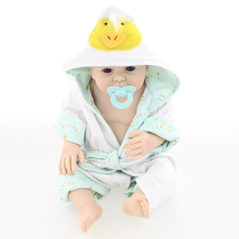 Doll Reborn 50-55cm with Blue Clothes Handmade Lifestyle Full Silicone Reborn Baby Dolls Not Soft can be Wash Best Gift to Child<br><br>Aliexpress