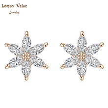 Lemon Value New Luxury Design Bijoux Fashion Charms Flower Earrings Romantic Zircon Crystal Stud Earrings Women Jewelry P040(China)