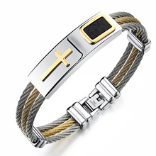 Stainless Steel Cross Bracelet Homme Men Jewelry Gold Color Punk Heavy Metal Accessories 2017 Fashion Mens Bracelets & Bangles