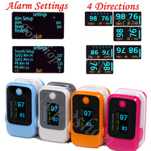 10 pieces/Lot  colorful OLED Alarm Fingertip Pulse Oximeter SpO2 Blood Oxygen Saturate Heart Rate Monitor Health Care