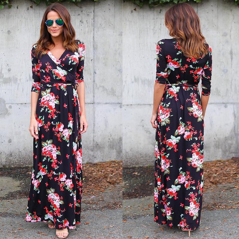 Women-Summer-Beach-Dress-Elegant-Floral-Print-Maxi-Dress-Deep-V-Neck-Women-Casual-Long-Dresses