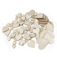 80pcs Heart Shaped Wood Log Slices for DIY Crafts Wedding wood heart for home decorations wall stickers MDF wooden hearts(China)