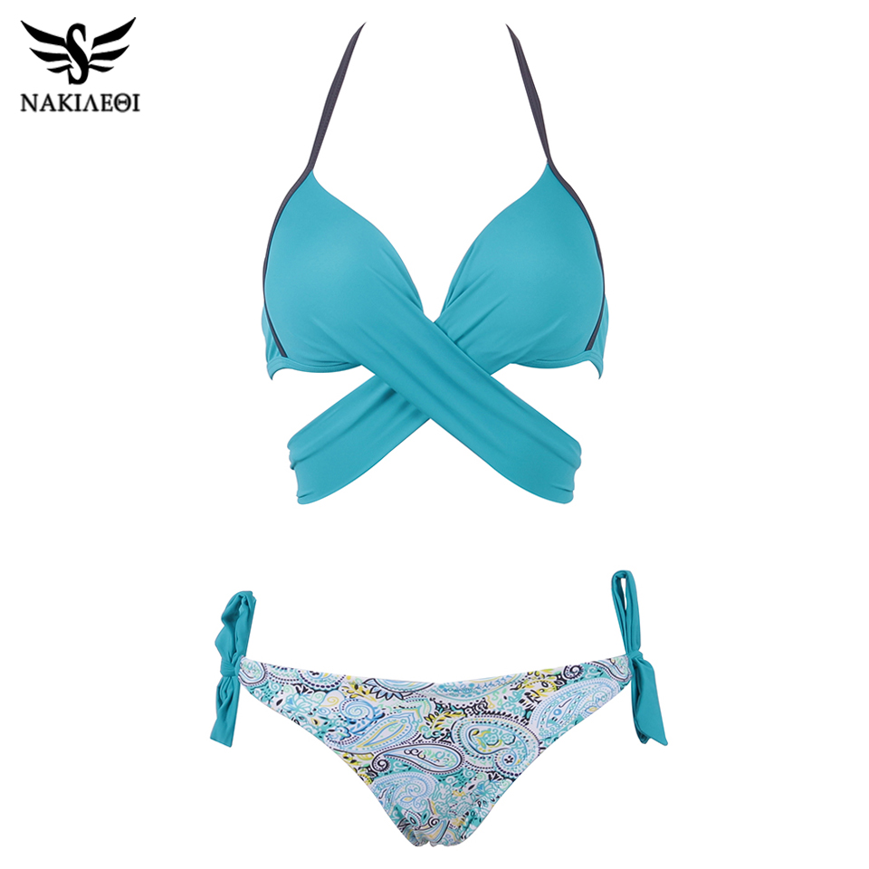 NAKIAEOI 19 Sexy Bikini Women Swimsuit Push Up Swimwear Criss Cross Bandage Halter Bikini Set Beach Bathing Suit Swim Wear XXL 29