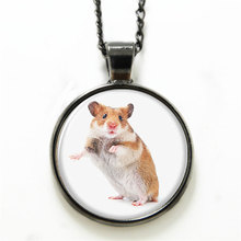 10pcs/lot Hamster necklace , a small furry animal which is similar to a mouse print glass Photo pet necklace(China)
