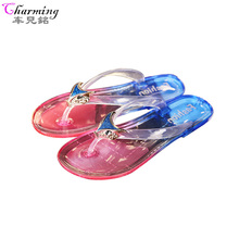 summer jelly transparent shoes women Fox flip flops crystal slippers female flats beach non-slip bathroom plastic sandals