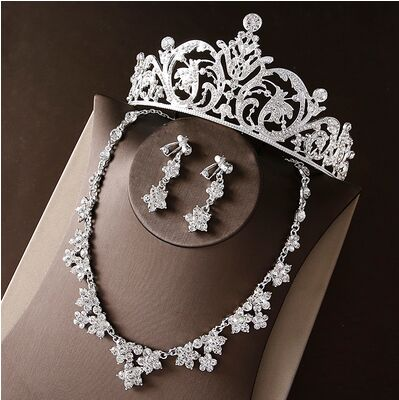 2017 New Silver Crystal Necklace Earrings for Women Wedding Jewelry Sets Whit K Plated Bridal Jewelry Sets With Tiaras & Crowns (13)