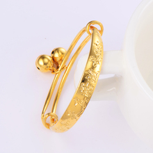Kids Baby child Bell bracelet jewelry vintage Yellow Gold Color Adjustable