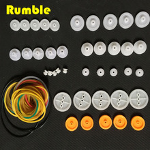 New High Quality 40pcs DIY Plastic Wheel Sets With Pulley With 40Pcs Belt For Toy Model Car Plane Ship For DIY Accessories(China)