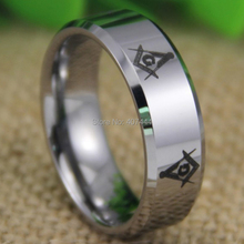 Free Shipping YGK JEWELRY Hot Sales 8MM Shiny Silver Bevel The New Freemason Masonic Mens Tungsten Wedding Ring(China)