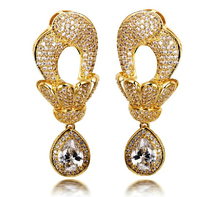 Perfect Women Luxury Dangling Big Drop CZ Earrings Setting 376 PCS AAA Cubic Zirconia Gold-color Super Bling Bridal Jewelry