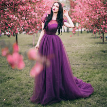 Simple Dream dress Ball Gown Purple Pregnant Photography Dresses  Romantic Vintage Wedding Gowns Lace Up Sash 2017 Sexy