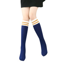 Children Kids Stripe Knee High Socks Cute Long Girls' Socks in Five Colour High Quality Suit for 3-7 child(China)