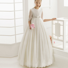 2016 Flower Girl Dresses for weddings first communion dresses for girls Tulle A-Line Half Sleeve girls pageant dresses cute