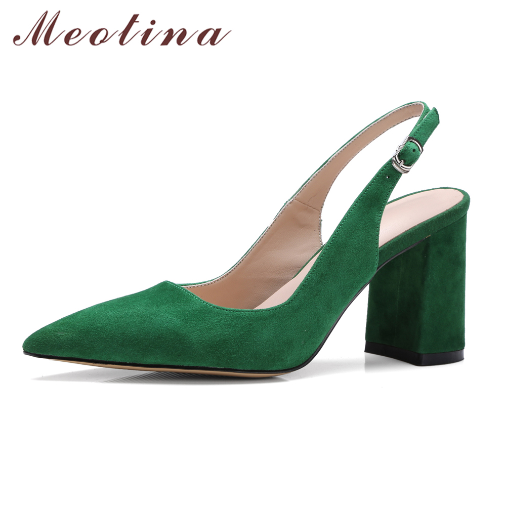 Meotina Women Shoes Kid Suede High Heels Pointed Toe Slingbacks Thick High Heel Pumps Autumn Lady Party Heels Green Beige 34-39<br>