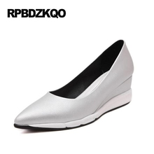 Designer Brand Shoes Women Plus Size Cool 2017 White Cheap Medium Pumps Pointed Toe High Heels Casual Silver 33 Wedge Summer(China)