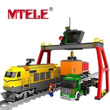 MTELE Brand Building Blocks Yellow Express Train Rayway Station Bricks Model Children's Educational Toy Christmas gift