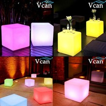 2016 Hot Sale Multi-Function 40cm Christmas Lighting Cube Stool Glowing Side Table for bar or club(China)